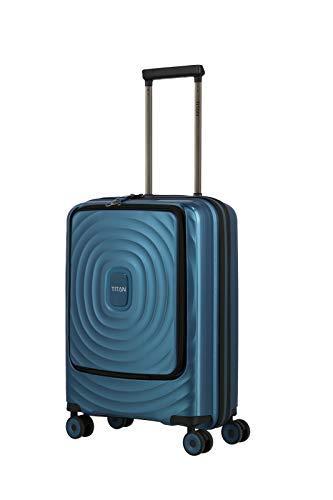 TITAN 4-Rad Handgepäck Koffer Hartschale mit Vortasche + Laptopfach bis 15,6 Zoll, Gepäck Serie LOOPING: Robuster und Leichter Hartschalen Trolley, 848409-22, 55 cm, 37 Liter, Petrol (türkis)