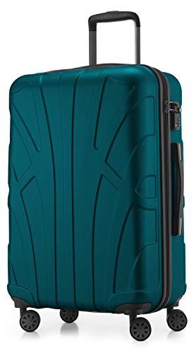 Suitline Hartschalen-Koffer Koffer Trolley Rollkoffer Reisekoffer, TSA, 66 cm, ca. 58 Liter, 100% ABS Matt, Aquagrün