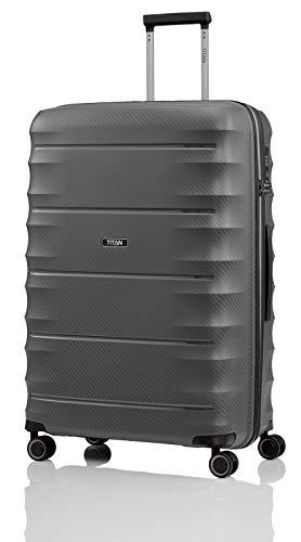 Gepäck Serie HIGHLIGHT: Leichte TITAN Hartschalen Trolleys im Carbon Look, 4-Rad Koffer L groß mit TSA Schloss, 842404-04, 75 cm, 107 Liter, Anthracite (Grau)