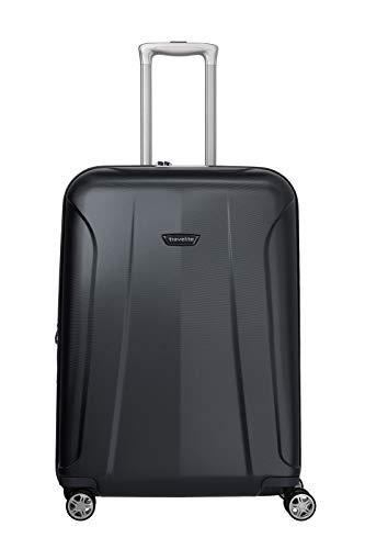 travelite 4-Rad Koffer Größe M mit Dehnfalte + TSA Schloss, Gepäck Serie ELBE: Widerstandsfähiger Hartschalen Trolley, 075548-20, 67 cm, 73 Liter (erweiterbar auf 84 Liter), marine (blau)
