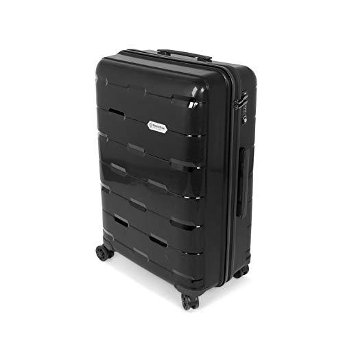 MasterGear Polypropylen Koffer in schwarz / Größe: L (76 x 50 x 30,5 cm / 111 Liter) / Trolley mit 4 Rollen (360 Grad) / Reisekoffer, Rollkoffer, TSA