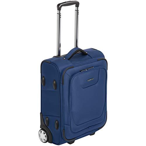 Amazon Basics – Erweiterbarer Weichschalen-Koffer, Handgepäck-Größe, mit TSA-Schloss und Rollen, 48 cm, blau