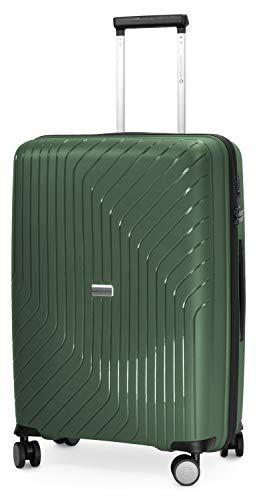 HAUPTSTADTKOFFER- TXL - extra Leichter Hartschalenkoffer, mittelgroßer Check-In Gepäck Rollkoffer 66 cm, Aufgabegepäck aus robustem Polypropylen, Dunkelgrün