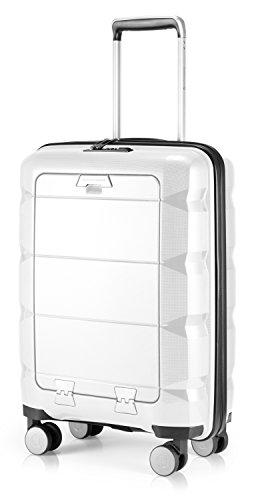 HAUPTSTADTKOFFER - Britz - Handgepäck mit Laptopfach Hartschalen-Koffer Trolley Rollkoffer Reisekoffer, TSA, 4 Rollen, 55 cm, 34 Liter, Weiß