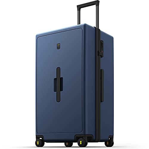 LEVEL8 Handgepäck Koffer 28',Reisekoffer Groß,Hartschalenkoffer mit 8 Spinner Rädern, Travelite Trolley,TSA Lock (99L,75cm,Blau)