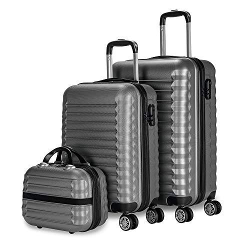 NEWTECK - Gepäck-Set und Kulturbeutel 3 Stück Grau, mittel 63cm, klein 53cm und Kulturbeutel, ABS, starr, widerstandsfähig, 4 Doppelräder, leicht, seitliches Kombinationsschloss