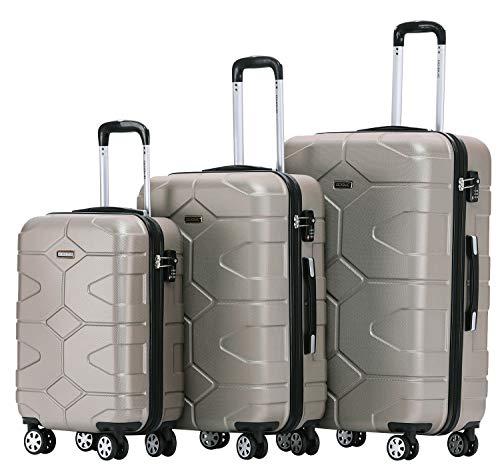 BEIBYE - TSA Schloß 2035 Hartschale Reisekoffer Koffer Handgepäck Trolley (Champagner, Set)