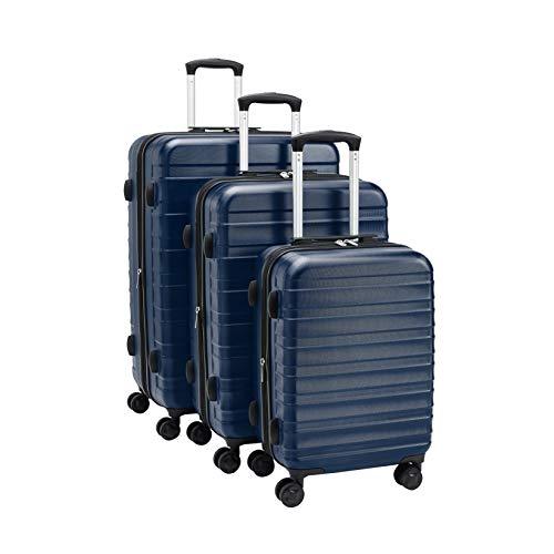 Amazon Basics – Premium-Hartschalenkoffer-Set, robust, 56 cm, 68 cm, 78 cm, blau