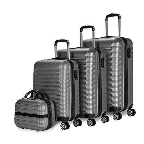 NEWTECK - Gepäck-Set und Kulturbeutel 4 Stück Grau, groß 75cm, mittel 63cm, klein 53cm und Kulturbeutel, ABS, starr, widerstandsfähig, 4 Doppelräder, leicht, seitliches Kombinationsschloss