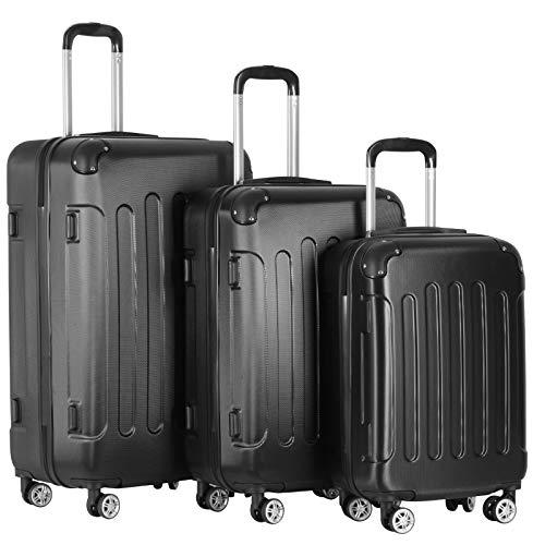 Koffer Trolley Set - 3 teilig groß mittelgroß klein, ABS Kunststoff, 4 Rollen, Hartschale, TSA-Schloss, Farbwahl - Hartschalenkoffer, Reisekoffer, Kofferset, Gepäck, Rollkoffer