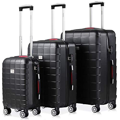 Monzana Exopack 3er Set Koffer   Schwarz M, L, XL   TSA Schloss, Gel-Griff   Reisekoffer Rollkoffer Hartschale Trolley