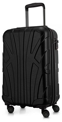Suitline Handgepäck Hartschalen-Koffer Koffer Trolley Rollkoffer Reisekoffer, TSA, 55 cm, ca. 34 Liter, 100% ABS Matt, Schwarz