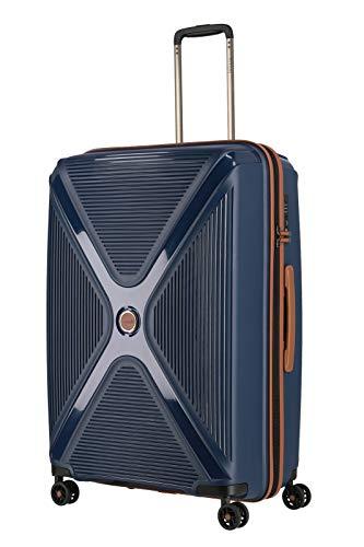 TITAN 4-Rad Koffer Hartschale mit TSA Schloss, Gepäck Serie PARADOXX: Hartschalen Trolley mit Akzenten in Leder Optik, 833404-20, 76 cm, 110 Liter, navy (blau)