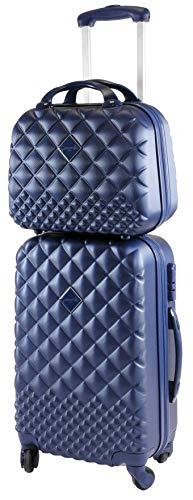Camomilla Gepäck-Set, Koffer-Set, Handgepäck (40 l) + Kosmetikkoffer (15 l), Hartschalen, 360° drehbare Rollen, 3-stelliges Zahlenschloss, Farbe Blau