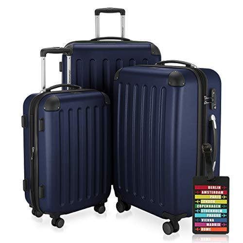Hauptstadtkoffer - Spree - 3er-Koffer-Set Trolley-Set Rollkoffer Reisekoffer-Set Erweiterbar, TSA, 4 Rollen, (S, M & L), Dunkelblau inkl. Design Kofferanhänger