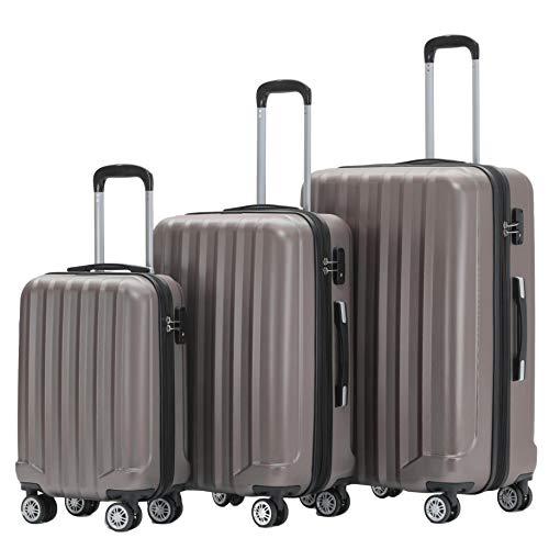 BEIBYE TSA-Schloß 2080 Hangepäck Zwillingsrollen neu Reisekoffer Koffer Trolley Hartschale Set-XL-L-M(Boardcase) (Coffee, Set)