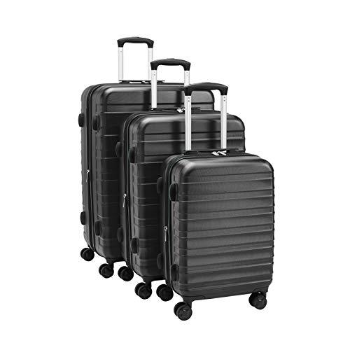 AmazonBasics – Premium-Hartschalenkoffer-Set, robust, 56 cm, 68 cm, 78 cm, schwarz