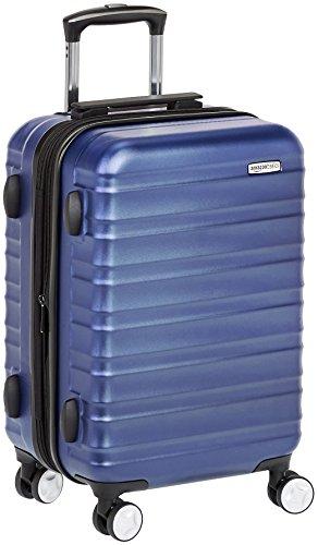 Amazon Basics - Hochwertiger Hartschalen-Trolley mit Schwenkrollen und eingebautem TSA-Schloss - 55 cm, Handgepäck, Blau, Genehmigt als Handgepäck auf vielen Airlines