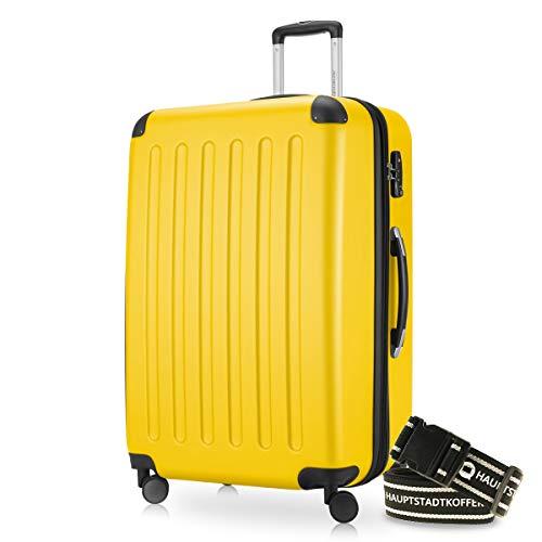 Hauptstadtkoffer - Spree Hartschalen-Koffer-XL Koffer Trolley Rollkoffer Reisekoffer Erweiterbar, 4 Rollen, TSA, 75 cm, 119 Liter, Gelb inkl. Gepäckgurt