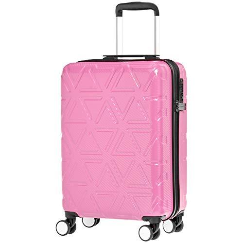 """AmazonBasics - Hochwertiger Hartschalen-Trolley """"Pyramid"""", mit Schwenkrollen, 55 cm, Pink"""
