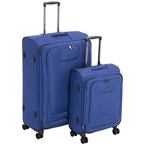 Amazon Basics - Premium-Weichschalen-Trolley mit TSA-Schloss, erweiterbar, 2-teiliges Set à (58.9 cm, 82 cm), Blau