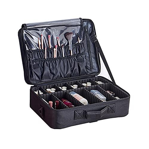 HULLSI Kosmetiktasche Kosmetiktasche Eitelkeit Reise Schönheit Nagelbox Make-Up-Zug-Koffer Friseurwerkzeug Organizer Mit Verstellbarem Fach Oxford-Gewebe,Schwarz,Small