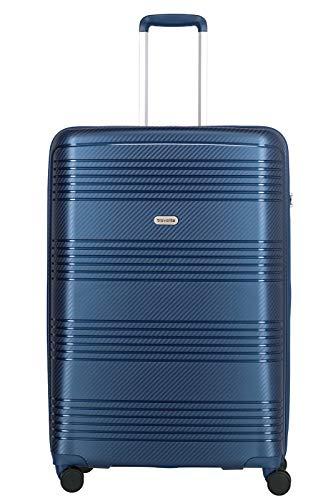 travelite 4-Rad Koffer Hartschale mit TSA Schloss, Gepäck Serie ZENIT: Robuster Hartschalen Trolley in unverwechselbarer Optik, 075749-20, 77 cm, 106 Liter, blau
