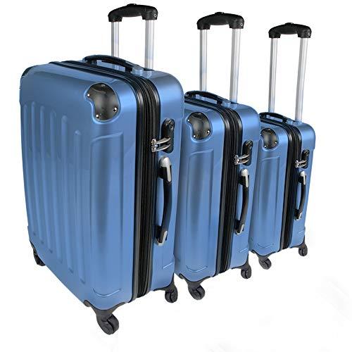 3 teiliges Kofferset - PC + ABS, mit 4 Rollen, 2 Griffen und integriertes Zahlenschloss, Leicht, Blau (M, L, XL) - 3er Set Koffer, Hartschalenkoffer, Reisekoffer, Handgepäck, Rollkoffer, Trolley