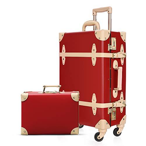 urecity Designer Vintage Koffer-Kombinations-Gepäck-Set, 2-teilig, Hartschalenkoffer, Retro-Reisekoffer mit Rollen (Holy White, 50,8 cm + 30,5 cm), rot / braun, 26'+12',