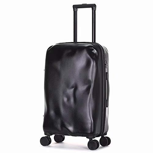 ZZTHJSM Trolley Koffer Handgepäck Koffer ABS und PC Hartschale Bordgepäck Gepäck 4 Rollen Koffer, mit TSA Zahlenschloss Gepäck Reisekoffer 55 cm 43L,Schwarz,20inch