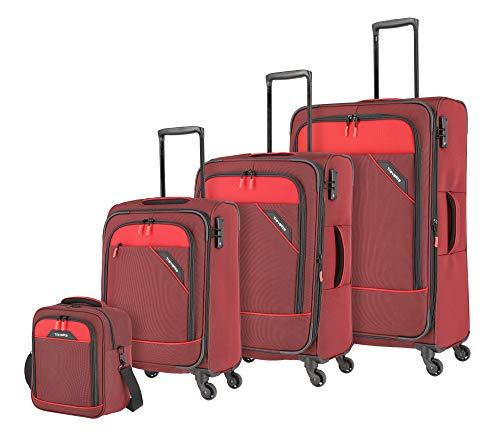 """Travelite Rollkoffer """"Derby"""": klassisch, robuster und leichter Weichgepäck Trolley mit 4 Rollen in 4 Farben Koffer-Set, 77 cm, 212 Liter, Rot"""