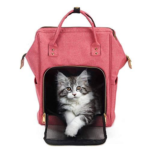 Pet Carrier Katze-Hundewelpen-Reisen Wandern Camping Pet Carrier Rucksack Gepolsterter Handtasche Rucksack tragbare Falten Haustier-Kaninchen Mode-Handtasche, Schwarz anybz (Farbe: Schwarz) HLSJ