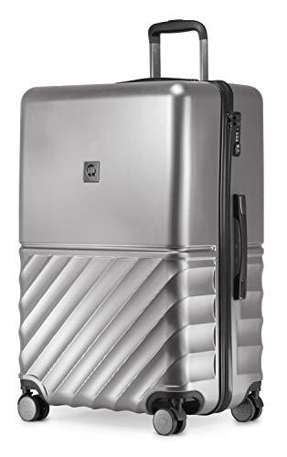 HAUPTSTADTKOFFER - Boxi - Hartschalen-Koffer Koffer Trolley Rollkoffer Reisekoffer 4 Rollen, TSA, 75 cm, 108 Liter, Silber