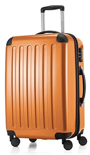 HAUPTSTADTKOFFER - Alex -  4 Doppel-Rollen Hartschalen-Koffer Koffer Trolley Rollkoffer Reisekoffer, TSA, 65 cm, 74 Liter, Orange