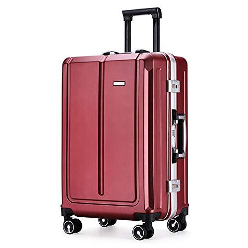 Handgepäck Hartschalenkoffer Gepäck Universal Rad Koffer PC Trolley Boarding Koffer Trolley Passwort Koffer Leichter Gepäckkoffer (Color : Wine Red, Size : 20Inch)