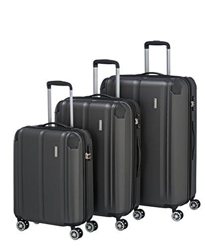 Travelite 4-Rad Koffer Set Größen L/M/S mit TSA Schloss + Dehnfalte (außer Größe S), Gepäck Serie CITY: Robuster Hartschalen Trolley mit kratzfester Oberfläche, 073040-04, anthrazit (grau)