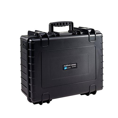 B&W Outdoor Case Hartschalenkoffer Typ 6000 mit Schaumstoff (Hardcase Koffer IP67, SI Würfelschaum, wasserdicht, Innenmaß 47,5x35x20cm, Schwarz)
