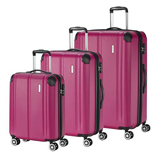 """Travelite Leicht, flexibel, sicher: """"City""""-Hartschalenkoffer für Urlaub und Business (auch mit Vortasche) Koffer-Set, 77 cm, 231 Liter, Beere"""