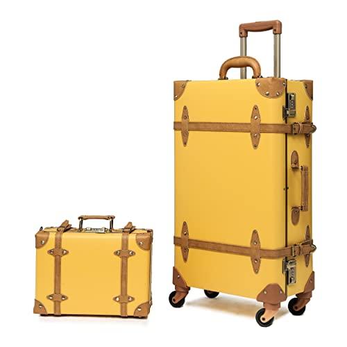 urecity Designer Vintage Kofferkofferraum-Kombinationsgepäck-Sets von 2 Teilen, Hartschale Retro Reisekoffer mit Rollen, senfgelb, 26'+12',