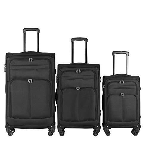 Vojagor® Koffer Trolley Set - 3 teilig groß mittelgroß klein, 4 Rollen, aus Stoff, TSA-Schloss, Schwarz - Weichschale Reisekoffer, Kofferset, Stoffkoffer, Weichgepäck, Gepäck, Rollkoffer