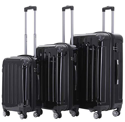 BEIBYE Zwillingsrollen 2048 Hartschale Trolley Koffer Reisekoffer Taschen Gepäck in M-L-XL-Set (Schwarz, Set)