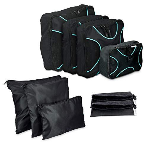 Navaris Koffer Packtaschen Set 9-teilig - Kleidertaschen Schuhbeutel Wäschebeutel Reise Gepäck Organizer - Travel Packing Cubes Schwarz Türkis