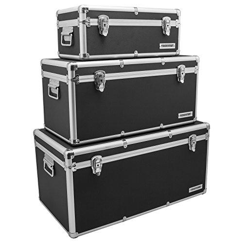 Aluminium-Rahmenkoffer Transport-Box, Koffer in Schwarz mit 155 Liter Volumen
