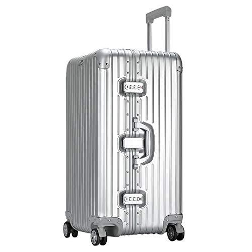SHJMANSU Handgepäck Hartschalen-Koffer Super Aluminium-Magnesium-Legierung Aluminium-Legierung Trolley Caster Metall Koffer Aluminium Sport, Silver