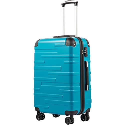 COOLIFE Hartschalen-Koffer Rollkoffer Reisekoffer Vergrößerbares Gepäck (Nur Großer Koffer Erweiterbar) ABS Material mit TSA-Schloss und 4 Rollen(Türkisblau, Großer Koffer)