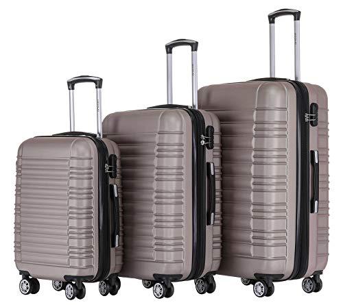 BEIBYE Zwillingsrollen Reisekoffer Koffer Trolleys Hartschale M-L-XL-Set (Champagner, Set)