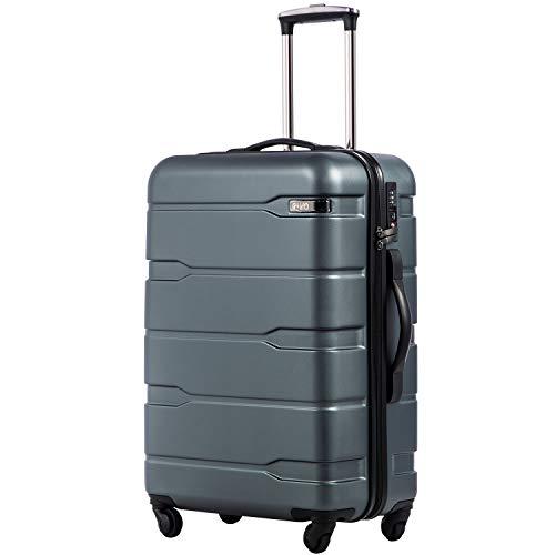 COOLIFE Koffer Reisekoffer Vergrößerbares Gepäck (Nur Großer Koffer Erweiterbar) PC + ABS Material mit TSA-Schloss und 4 Rollen(Teal, Handgepäck)