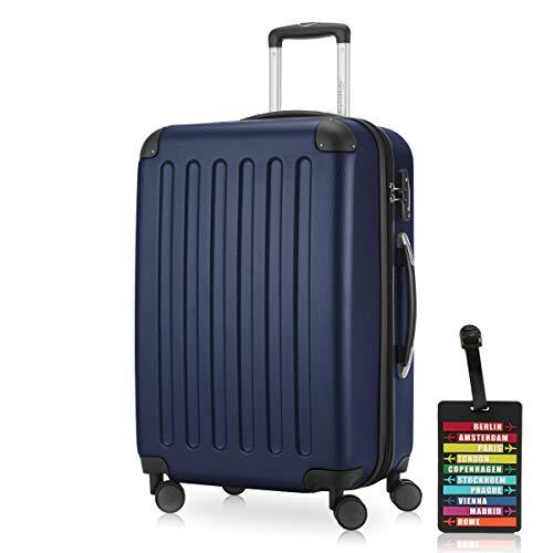 HAUPTSTADTKOFFER - Spree - Hartschalenkoffer Rollkoffer + Kofferanhänger, erweiterbarer Reisekoffer, TSA, 4 Rollen, 65 cm, 74 Liter, Dunkelblau
