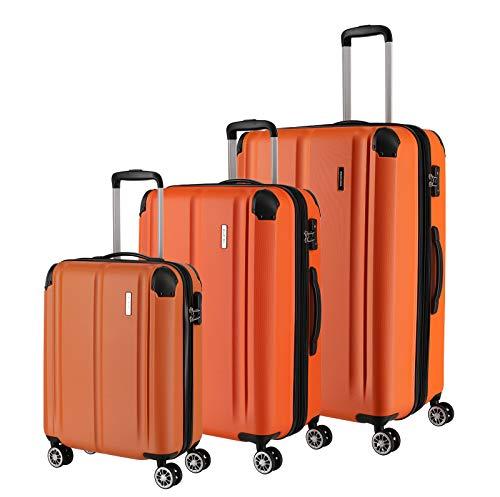 """Travelite Leicht, flexibel, sicher: """"City""""-Hartschalenkoffer für Urlaub und Business (auch mit Vortasche) Koffer-Set, 77 cm, 231 Liter, Orange"""