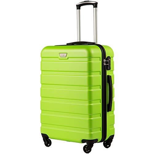 COOLIFE Hartschalen-Koffer Trolley Rollkoffer Reisekoffer mit TSA-Schloss und 4 Rollen(Grün, Großer Koffer)